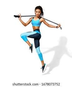 Sporty girl with skipping rope in motion. Photo of african american girl in fashionable sportswear on white background. Dynamic movement. Side view. Full length. Sports and healthy lifestyle