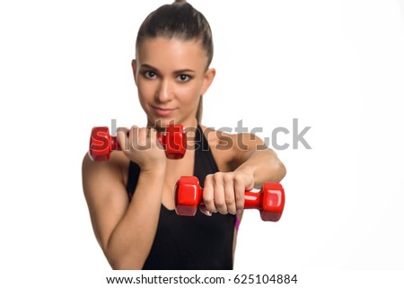 sporty girl using dumbbells arms bending stock photo edit now
