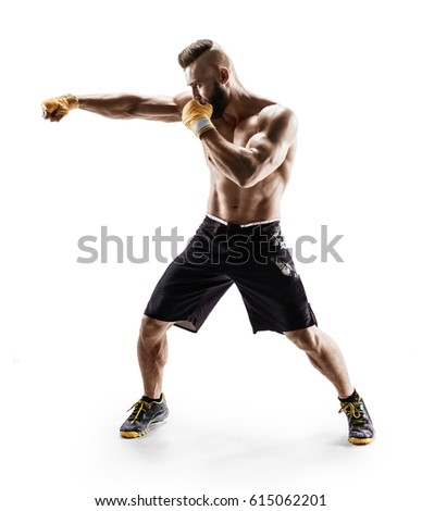 Sporty man during boxing