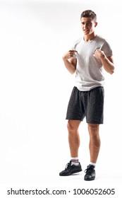 sporty man on a light background