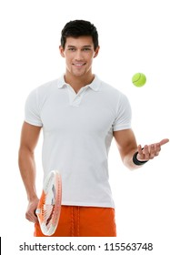 Sporty man playing tennis, isolated on white