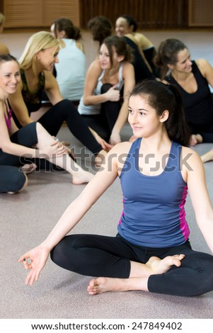 sporty teenage yogi girl doing yoga stock photo edit now