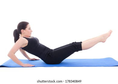 sporty woman doing strength exercises for abdominal muscles isolated on white background