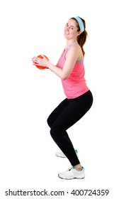 Sporty woman  fitness workout with small ball,  isolated on a white background