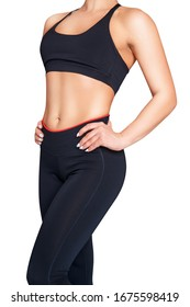 Sporty woman posing in sportswear. Isolated on white background.
