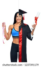 Sporty woman in two occupations of fitness trainer and university graduate isolated on white background. Student graduate wearing mantle and holding diploma and fitness coach holding measuring tape.