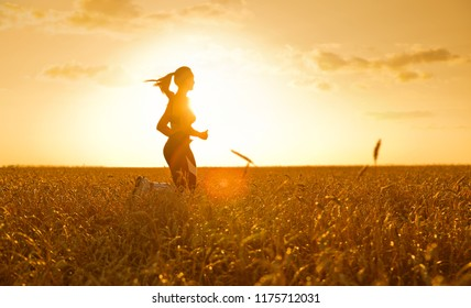 Sporty woman in wheat field at sunset