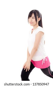 a sporty young asian woman exercising on white background