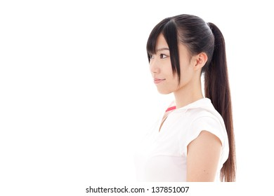 a sporty young asian woman on white background