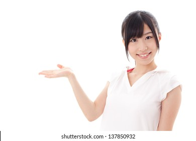 a sporty young asian woman showing on white background