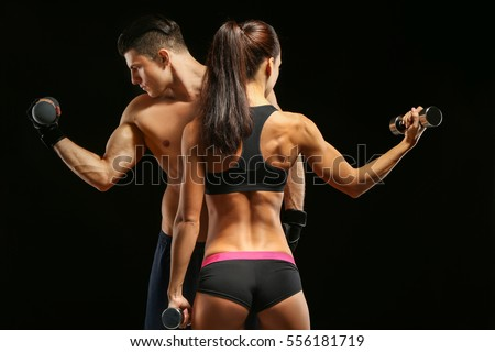 Sporty young couple with