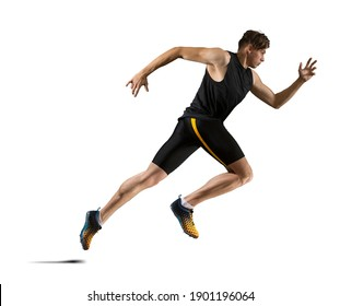 Sporty young man running.  Isolated on white background