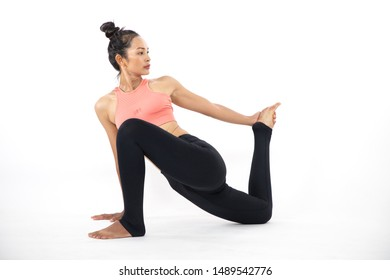 Sporty young woman doing yoga practice concept of healthy life and natural balance between body and mental development