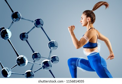 Sporty young woman runing and jumping near molecules chain. Metabolism concept.