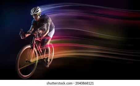 Spost background with copyspace. Dramatic colorful portrait. Speed and powerfull.
