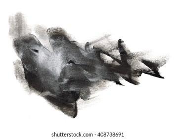 spot black white watercolor ink