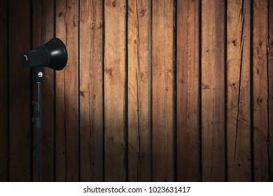 spot light on wooden wall