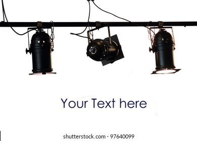 Spot light system on white isolated background with space for text
