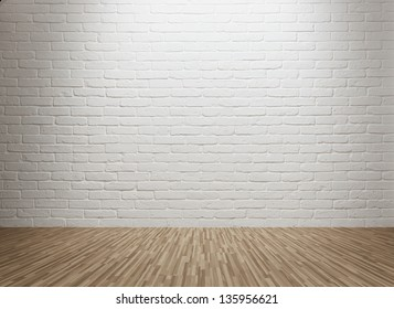 Spot lit empty room with white brick wall and copy space