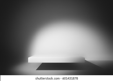 Spotlight Illustration. Blue Room Studio Background. Square Podium illuminated by Spotlights. Product Showcase. Clear Photographer Studio. Crisp and Clear White Floor.