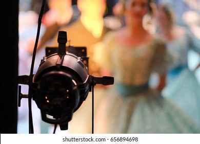 Spotlight on the stage of the Opera and Ballet Theater