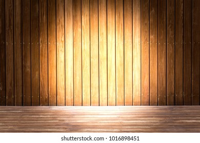 Spotlight shine to wooden panel wall