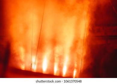 spotlight in smoke