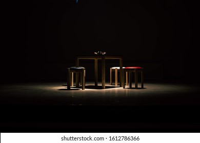 Spotlight of table with chairs