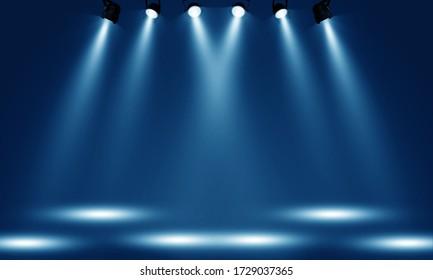 Spotlights illuminate empty stage blue background. - Shutterstock ID 1729037365