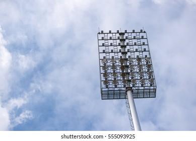 Spotlights in the stadium.