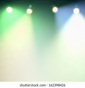 Spotlights to white background; What area is a perfect place for content.