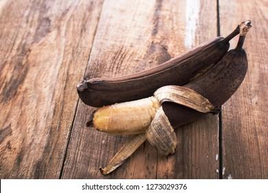 Spotted brown banana ready for baking banana bread