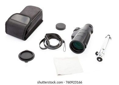 Spotting scope perfect optical equipment for sport, tourism, hunting, wildlife and astronomy zooming. Used with lens caps, tripod, smartphone holder and other accessories. Isolated on white background