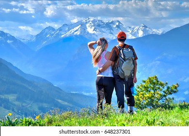 Spouses hiking in mountains. North Cascades  National Park. Patterson Mountain in Cascade Range. Winthrop. Washington.  The United States of America.