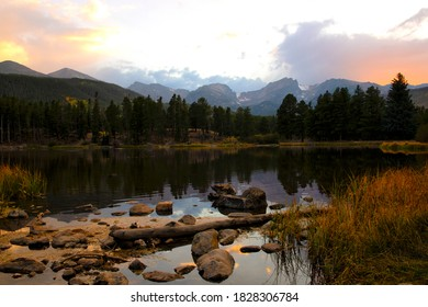Sprague Lake in Rocky Mountain National Park at sunset