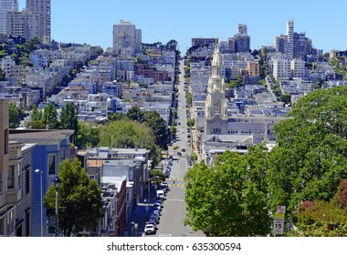 Sprawling homes and buildings on steep angled streets in San Francisco California
