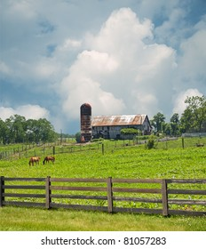 Sprawling pastures surround a horse farm in Kentucky, USA.
