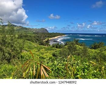 Sprawling view of Mahaulepu Beach, Kauai, Hawaii