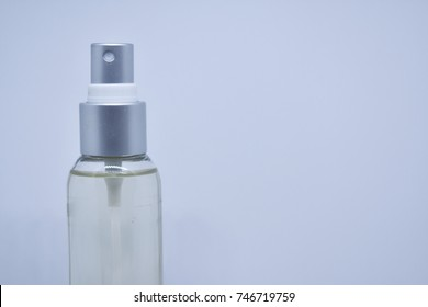 Spray bottle on white background and space for add text.