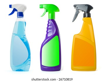 Spray bottles with blank label isolated on a white