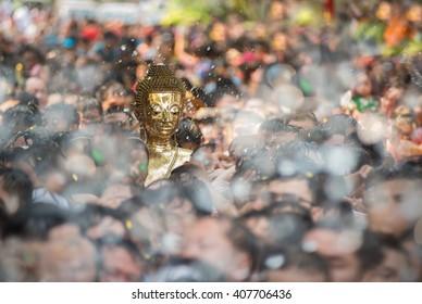 Spray for buddha statue water ceremony in songkran festival