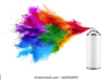 spray can spraying colorful rainbow holi paint color powder explosion isolated on white background. Industry diy paintjob graffiti concept.