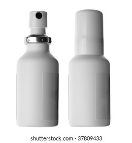 Spray cans with drug isolated over white background