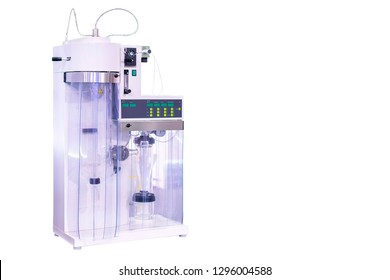 spray dryer device of lab for producing dry powder from liquid or slurry rapidly drying with hot gas for industrial food pharmaceutical nutraceuticals agriculture etc isolated with clipping path