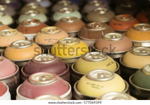 Spray Paint Cans Selective Focus Small Stock Photo Edit Now
