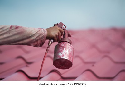 Spray paint red roof tiles.