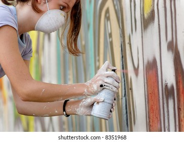 Spray painting on wall