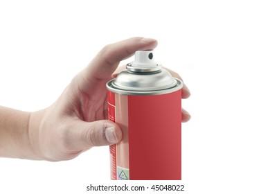 Spray tin with male hand