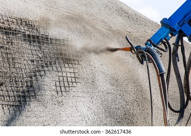 Sprayed concrete by machines for Prevent the collapse with rocks