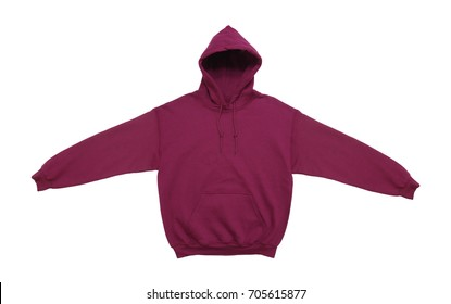 spread blank hoodie sweatshirt color maroon front view on white background